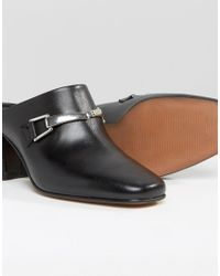 ASOS Black Oxygen Leather Snaffle Mules
