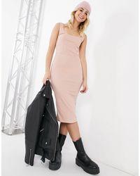 Розовое Облегающее Платье Миди С Декоративными Швами -розовый Цвет TOPSHOP, цвет: Pink