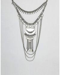 ASOS DESIGN - Metallic Statement Festival Bib Necklace - Lyst