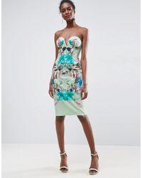 ASOS Multicolor Mint Tropical Floral Placed Cupped Bandeau Midi Dress
