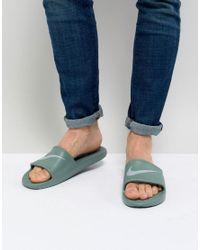 Nike Kawa Sliders In Green 832528-301 for men