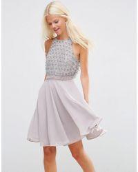 ASOS | Purple Embellished Crop Top Mini Dress | Lyst