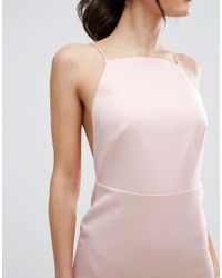ASOS - Pink High Neck Strappy Scuba Midi Bodycon Dress - Lyst