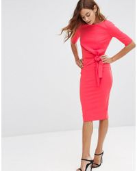 ASOS - Pink Crepe Pencil Dress With Knot Detail - Lyst