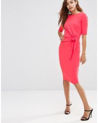 6bace1e96846 Asos Crepe Pencil Dress With Knot Detail in Pink - Lyst