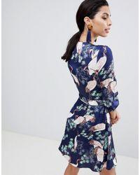 Liquorish Blue Stalk Bird Print Wrap Dress