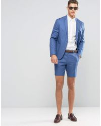 ASOS - Slim Tailored Shorts In Denim Blue Washed Cotton for Men - Lyst