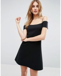 ASOS - Black Off The Shoulder Bardot Shift Scuba Mini Dress - Lyst