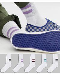 Pack de 5 pares de calcetines deportivos con rayas en la parte posterior ASOS de hombre de color Multicolor