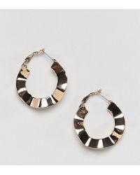 Reclaimed (vintage) Metallic Inspired Crinkle Hoop Earrings