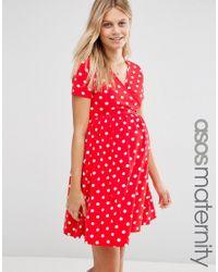 ASOS Ballet Wrap Skater Dress In Spot - Red/ Off White
