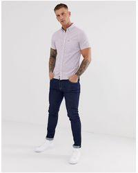 Tommy Hilfiger Pink Icon Logo Short Sleeve Buttondown Seersucker Stripe Shirt Slim Fit for men