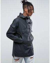 Rains Waterproof Camp Anorak In Black for men