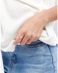 ASOS - Metallic Faux Opal Triple Stone Fine Ring - Lyst