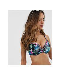 Top bikini coppe grandi a fascia con ferretto e stampa jungle a fiori di Freya in Blue