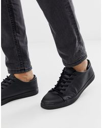 ASOS Lace Up Sneakers In Black With Toe Cap for men