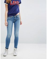 Lee Jeans Blue Scarlett Regular Waist Skinny Jean With Raw Hem
