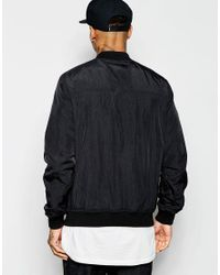 ASOS Bomber Jacket With Chest Pocket In Black for men