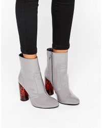 Office Gray Animal Sock Heeled Ankle Boots