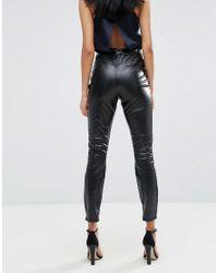 ASOS Black Snake Wetlook Skinny Cigarette Trousers