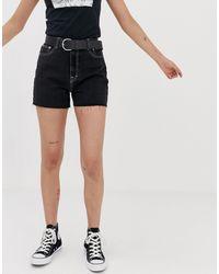 Short mom épuré Pull&Bear en coloris Black