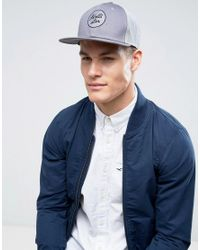 Hollister Gray Logo Trucker Cap In Grey for men