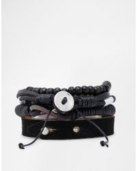 ASOS - Leather Bracelet Pack In Black for Men - Lyst
