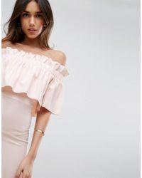 ASOS Pink Scuba Crepe Ruffle Bandeau Midi Dress