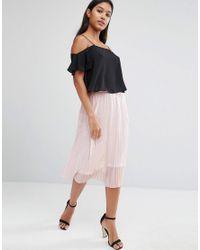 8ae577365b TFNC London. Women's Foiled Metallic Pleated Midi Skirt
