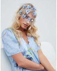 ASOS Blue Pretty Floral Veil Headband