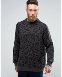 Weekday - Gray Leopold Leopard Sweater for Men - Lyst