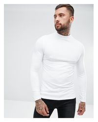 ASOS White Muscle Fit Long Sleeve Jersey Turtle Neck for men
