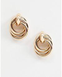 Monki - Metallic Earrings In Gold - Lyst