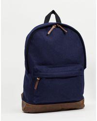 Темно-синий Рюкзак Из Мельтона С Контрастной Отделкой Из Искусственной Кожи ASOS для него, цвет: Blue