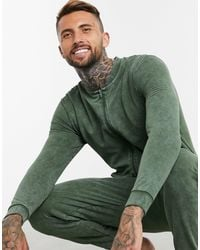 ASOS Blue Lounge Onesie In Washed Green for men