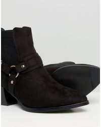 Truffle Collection - Multicolor Buckle Western Mid Heel Boots - Lyst