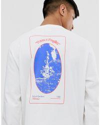 Camiseta de manga larga gruesa y holgada con estampado gráfico ASOS de hombre de color White