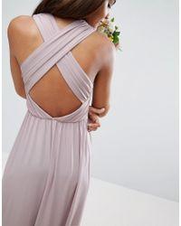 ASOS - Purple Wedding Drape Twist Back Maxi Dress - Lyst