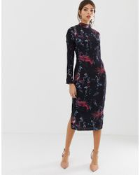 Hope and Ivy Blue Hope & Ivy Bird Print Fitted Pencil Dress