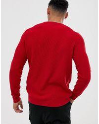 ASOS Gebreide Geribbelde Trui In Rood in het Red voor heren