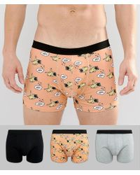 ASOS Multicolor Trunks With Dreaming Pug Print 3 Pack Save for men