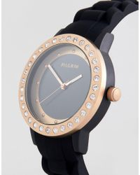 Pilgrim - Rose Gold Plated Watch With Black Silicone Strap for Men - Lyst