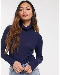 Pieces Blue Nimmi Long Sleeve Roll Neck Top
