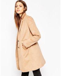 ASOS | Natural Coat With Seam Detail | Lyst