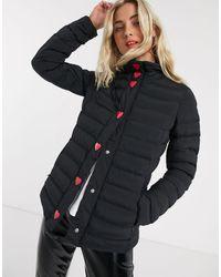 Стеганая Куртка С Кнопками В Форме Сердец -черный Love Moschino, цвет: Black