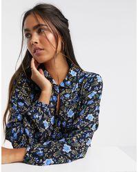 Рубашка С Оборкой И Цветочным Принтом -многоцветный Y.A.S, цвет: Blue