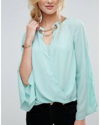 TFNC London Blue Blouse With Gold Detail