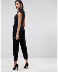 ASOS - Black Asos Embellished Lace Top Jumpsuit - Lyst