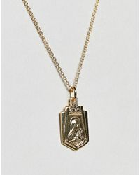 ASOS - Metallic Asos Gold Plated Sterling Silver Vintage Style Icon Pendant Necklace - Lyst