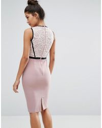 Vesper - Purple Panelled Pencil Dress With Lace Bodice - Lyst
